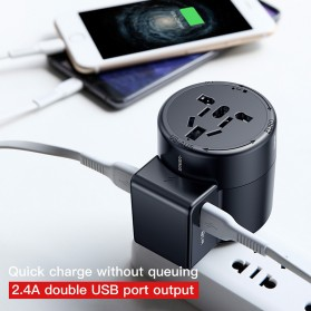 Baseus Universal Travel Adapter Charger dengan 2 USB Ports - ACCHZ-01 - Black - 3