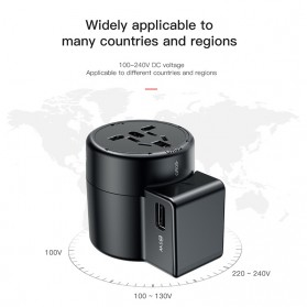 Baseus Universal Travel Adapter Charger dengan 2 USB Ports - ACCHZ-01 - Black - 4
