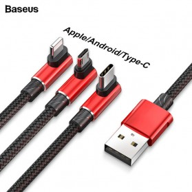 Baseus MVP 3 in 1 Kabel Charger Lightning + Micro + USB Type C 1.2M - WZ09 - Red