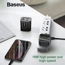 Baseus Universal 2 in 1 Travel Adapter Charger USB Type C QC3.0 18W - JY-302PD - Black