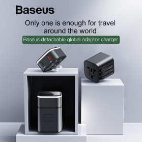 Baseus Universal 2 in 1 Travel Adapter Charger USB Type C QC3.0 18W - JY-302PD - Black - 2