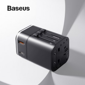 Baseus Universal 2 in 1 Travel Adapter Charger USB Type C QC3.0 18W - JY-302PD - Black - 3