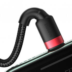 Baseus 2 in 1 Kabel Charger Braided Type C + Lightning 2.4A 1.2m - CATKLF-ELG1 - Black/Red - 5
