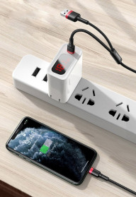 Baseus 2 in 1 Kabel Charger Braided Type C + Lightning 2.4A 1.2m - CATKLF-ELG1 - Black/Red - 7