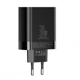 Baseus Charger USB 3 Port 2.4A 30W with LED Display - CCJMHB-B01 - Black - 2