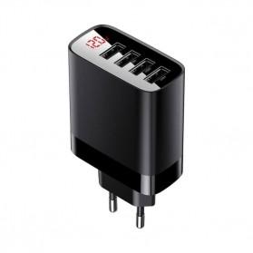 Baseus Charger USB 3 Port 2.4A 30W with LED Display - CCJMHB-B01 - Black - 3