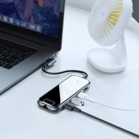 Baseus USB Type C Hub 3 Port USB 3.0 + LAN Adapter + HDMI + Type C PD Charging - CAHUB-DZ0G - Dark Gray - 5