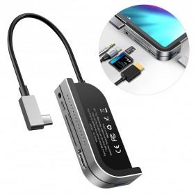 Baseus USB Type C Hub USB 3.0 + HDMI + TF/SD Card Reader + 3.5mm +  Type C PD Charging - CAHUB-WJ0G - Dark Gray