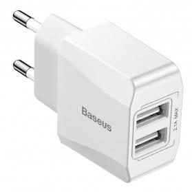 Baseus Mini Dual-U Charger USB 2 Port 2.1A EU Plug - CCALL-MN02 - White - 1