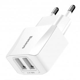 Baseus Mini Dual-U Charger USB 2 Port 2.1A EU Plug - CCALL-MN02 - White - 2