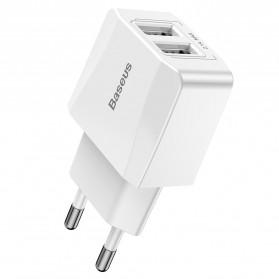 Baseus Mini Dual-U Charger USB 2 Port 2.1A EU Plug - CCALL-MN02 - White - 3