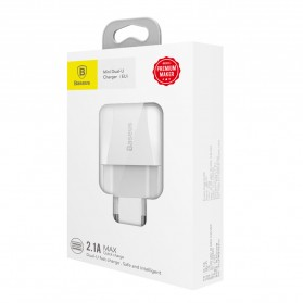 Baseus Mini Dual-U Charger USB 2 Port 2.1A EU Plug - CCALL-MN02 - White - 8