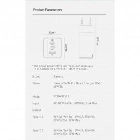 Baseus GaN2 Pro Charger USB Type C PD Quick Charge 3 Port 65W - CCGAN65E2 - Black - 10
