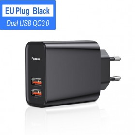 Baseus Charger Dual USB QC3 PD 2 Port 30W - BS-EU906 - Black