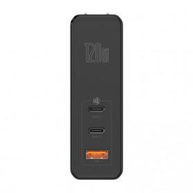 Baseus GaN Mini Charger USB Type C+C+A PD Quick Charge 3 Port 120W - CCGAN-J01 - Black - 2