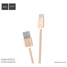 Hoco X2 USB Type C Braided Cable for Smartphone - Golden - 1