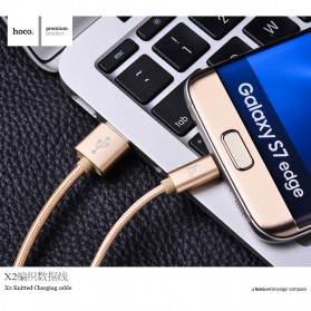Hoco X2 USB Type C Braided Cable for Smartphone - Golden - 6