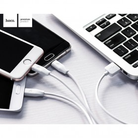Hoco X1 3 in 1 Lightning Micro USB and USB Type C Charging Cable 1m for iPhone and Smartphone - White - 3