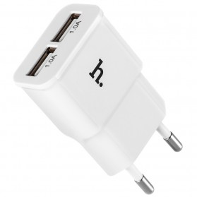 Hoco UH202 Dual USB Port Quick Charger EU Plug 1.0A - White