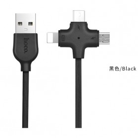 HOCO X10 Starfish Kabel Charger 3 in 1 Micro USB + Lightning + Type-C - Black