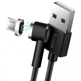Hoco Kabel Charger Magnetic Lightning & Micro USB for Smartphone - Black