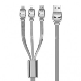 Hoco U14 Kabel Fast Charging 3 in 1 Lightning + USB Type C + Micro USB - Gray