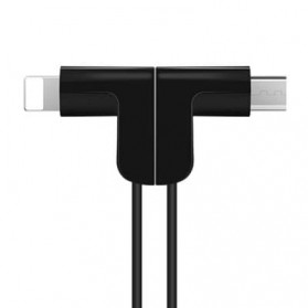 Hoco X12 Magnetic 2 in 1 Kabel Charger Lightning + Micro USB - Black - 2