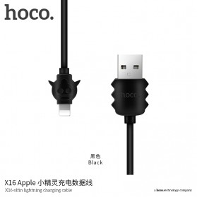 HOCO X16 Elfin Kabel Charger Lightning - Black
