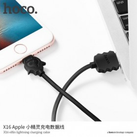HOCO X16 Elfin Kabel Charger Lightning - Black - 4