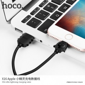 HOCO X16 Elfin Kabel Charger Lightning - Black - 5