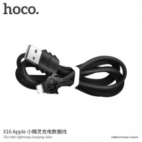 HOCO X16 Elfin Kabel Charger Lightning - Black - 6
