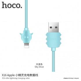 HOCO X16 Elfin Kabel Charger Lightning - Sky Blue