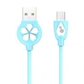 HOCO JP15 Sakura Kabel Charger USB Type C - Sky Blue