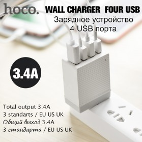 HOCO Charger USB 4 Port 3.4A - C23B - White - 2