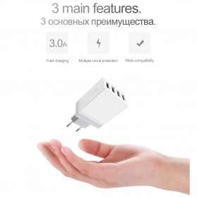 HOCO Charger USB 4 Port 3.4A - C23B - White - 4