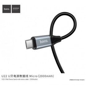 HOCO U22 Power Bank 2000mAh dengan Kabel Charger Micro USB 1.2 Meter - Black - 4