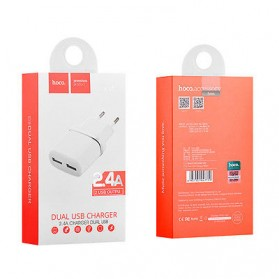 HOCO Charger USB 2 Port 2.4A EU Plug - C12 - White - 5