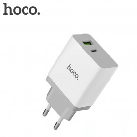 HOCO Charger USB 2 Port & USB Type C 3A Quick Charging 3.0 EU Plug - White