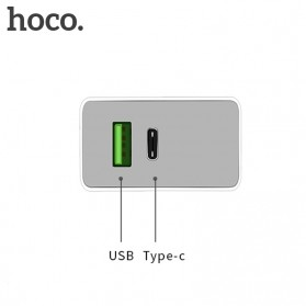 HOCO Charger USB 2 Port & USB Type C 3A Quick Charging 3.0 EU Plug - White - 2