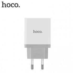 HOCO Charger USB 2 Port & USB Type C 3A Quick Charging 3.0 EU Plug - White - 3
