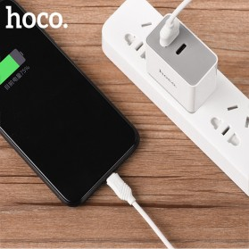 HOCO Charger USB 2 Port & USB Type C 3A Quick Charging 3.0 EU Plug - White - 4