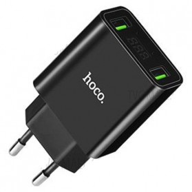 HOCO Charger USB 2 Port 2.2A with LED Display - C25A - Black