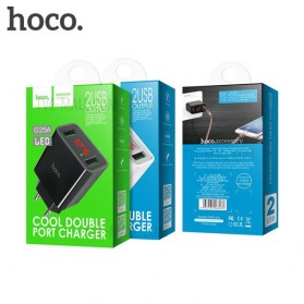 HOCO Charger USB 2 Port 2.2A with LED Display - C25A - Black - 4