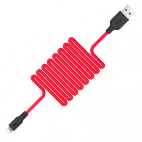 HOCO X21 Kabel Charger Lightning High Elasticity Silicone 1 Meter - Black/Red - 2