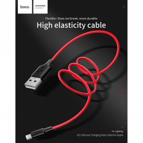 HOCO X21 Kabel Charger Lightning High Elasticity Silicone 1 Meter - Black/Red - 3