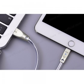 HOCO U9 Jelly Kabel Charger Lightning Ziny Alloy 1.2 Meter - Silver - 9