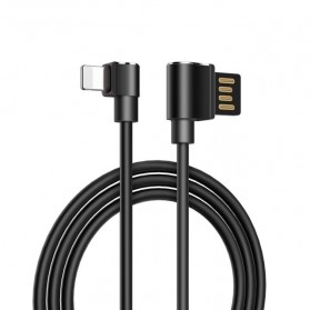 Hoco Long Roam Kabel Charger Lightning L Shape for iPhone - U37 - Black - 1