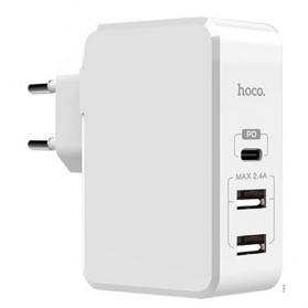 HOCO PD Fast Charger with 3 Port USB EU Plug for iPhone X - White