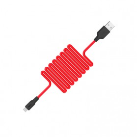 Hoco X21 Kabel Charger Micro USB High Elasticity Silicone 1 Meter - Black/Red - 2