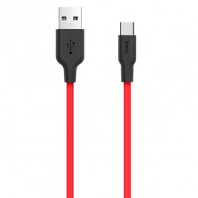 Hoco X21 Kabel Charger USB Type C High Elasticity Silicone 1 Meter - Black/Red